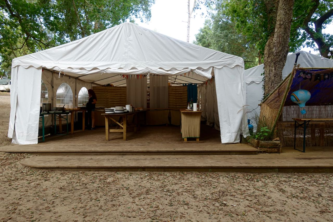 empty buffet tent